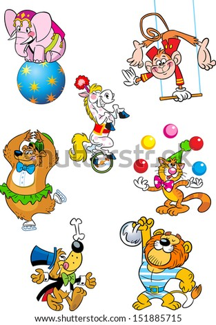 The illustration shows several different animals that perform in the circus. Illustration done in cartoon style, on separate layers. - stock vector