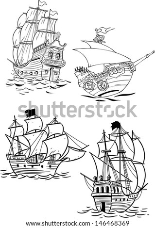 The illustration shows several kinds of ancient sailing ships. Illustration done on separate layers. - stock vector