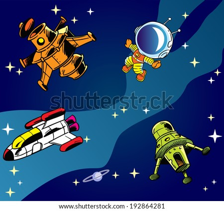 The illustration shows several types of spacecraft and one astronaut on a background of blue sky and stars. Illustration done in cartoon style, on separate layers. - stock vector
