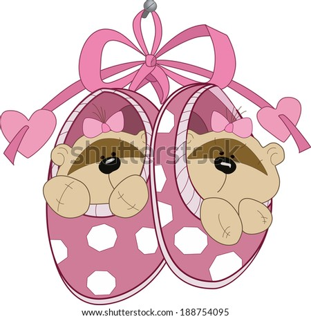 The illustration shows the baby booties with toy teddy bears. Illustration done in cartoon style, on separate layers. - stock vector