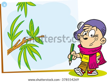 The illustration shows the cartoon young artist who paints on canvas Green tree branch - stock vector