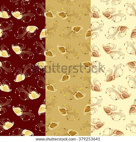 The illustration shows the seamless floral pattern with hearts on brown, color of mustard and yellow background