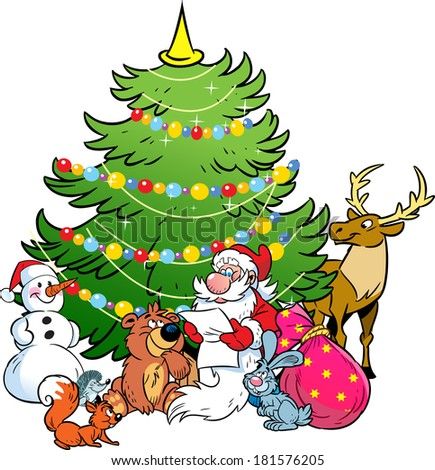 The illustration shows the snowman and Santa Claus, who reads the list of holiday gifts for animals on the background of Christmas tree. Illustration done in cartoon style,isolated on separate layers. - stock vector