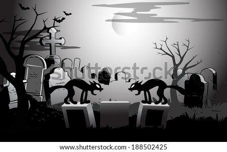 The illustration shows view of the cemetery at night and two black cats on gravestones in a cartoon style. Symbolic background presented to the Halloween holiday. On separate layers, the format EPS 10 - stock vector