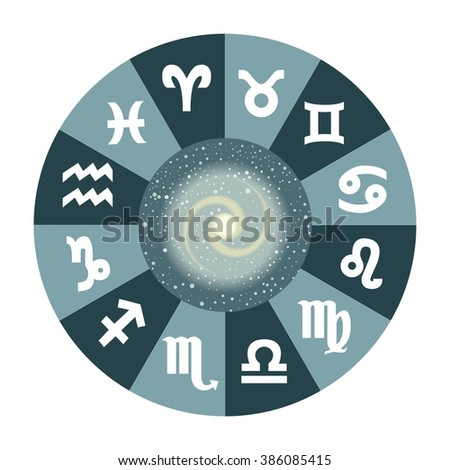 the illustration with the universe and the zodiac. - stock vector