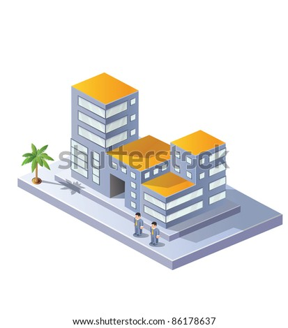 The image area in isometric projection on a white background - stock vector