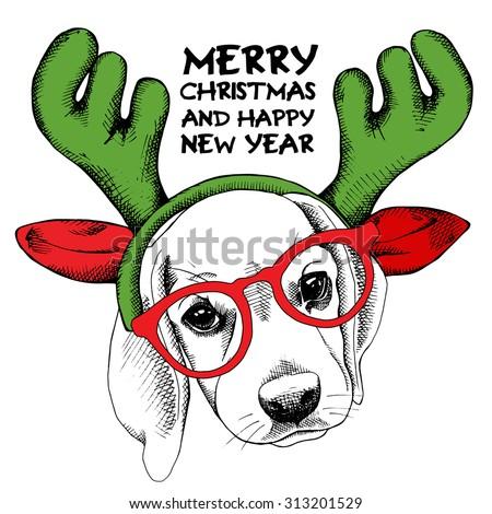 The image Beagle dog portrait in mask Santa's antler reindeer. Vector illustration. - stock vector
