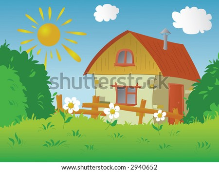 The image of a rural small house in a sunny day