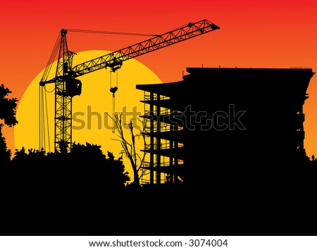 The image of a silhouette of the elevating crane
