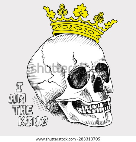The image of a skull with a crown. Vector illustration.