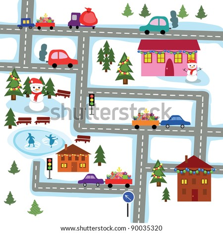 The image of a winter city before new year - stock vector