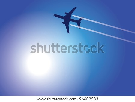 The image of aircraft flying high in the sky