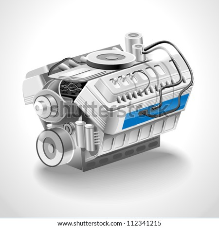 The image of an engine on white background vector illustration - stock vector