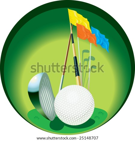 The image of  inventory for game in a golf, placed in a circle. - stock vector