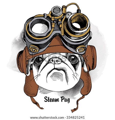 The image of the dog Pug portrait in the Steampunk helmet. Vector illustration. - stock vector
