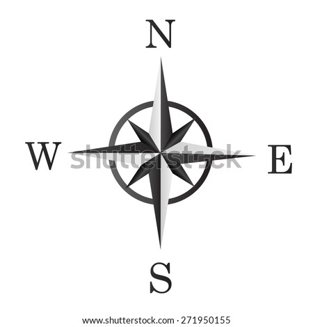 the image of the wind rose. use the colors white and black - stock vector