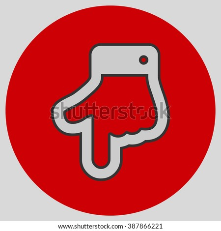 The index finger pointing down. Hand gestures show Down the direction of financial success. Style is flat symbol. Silver color.  Red circle  background. - stock vector