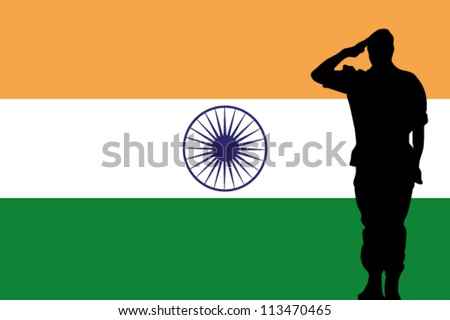 The India flag and the silhouette of a soldier saluting - stock vectorIndian Army Soldier With Flag