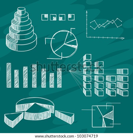 The infographics elements sketch on green board - stock vector