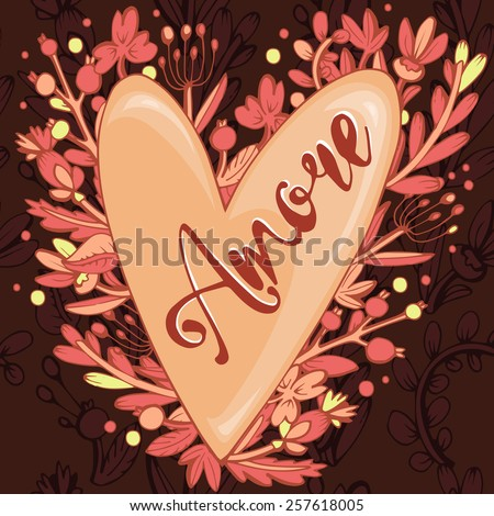 """The inscription """"love"""" in Italian, at the heart of the tree-flowers. handmade calligraphy, vector.  party invitations for Valentines Day or wedding - stock vector"""