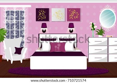 Interior Bedroom Room White Furniture Plants Stock Vector (2018 ...