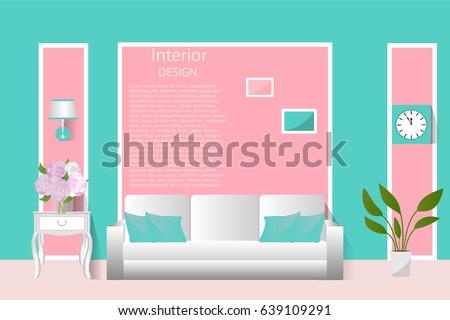 Interior Living Room Vector Illustration Banner Stock Vector HD ...