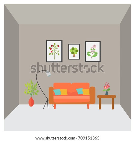 The Interior Of Living Room Vector In Flat Style