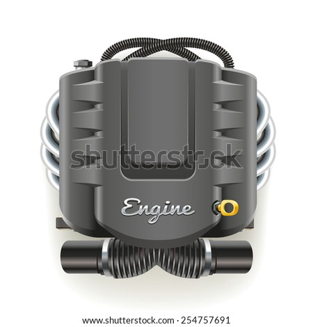 The internal combustion engine under the protective cover - stock vector