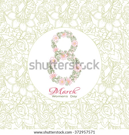 The international women's day on March, 8th greeting background with floral number 8 - stock vector