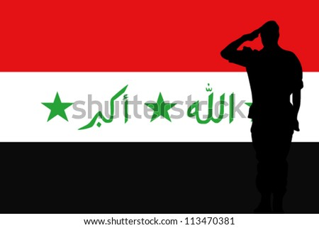 The Iraq flag and the silhouette of a soldier saluting - stock vector
