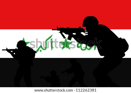 The Iraq flag and the silhouette of a soldiers - stock vector