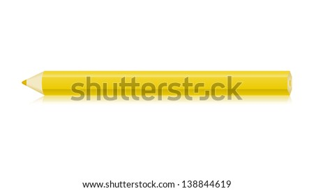 The isolated horizontal yellow pencil graphic element / The yellow crayon