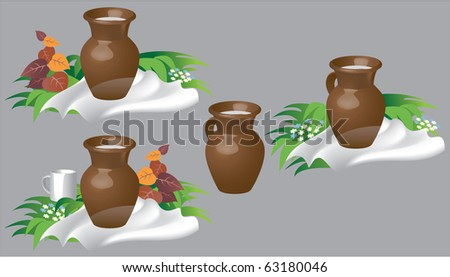 The isolated object. A milk jug. A ceramic jug. Vector drawing. - stock vector