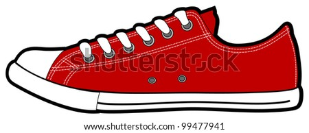 The isolated vector modern low red sneakers, illustration - stock vector