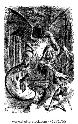 The Jabberwocky - Through the Looking Glass and what Alice Found There original book engraving. Alice is battling the Jabberwocky, swinging her sword. - stock vector