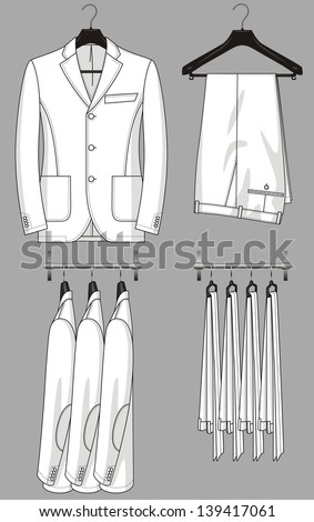 The jacket and trousers for the man hang on a hanger - stock vector