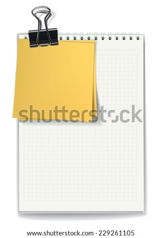 The jotter with blank sheets and yellow stickers fastened by a binder clip. Vector illustration - stock vector