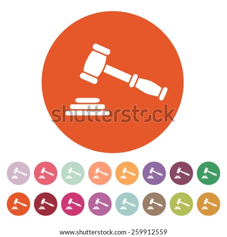 The judge or auction hammer icon. Justice symbol. Flat Vector illustration. Button Set - stock vector