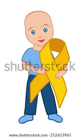 The kid holds a gold ribbon childhood cancer symbol - stock vector