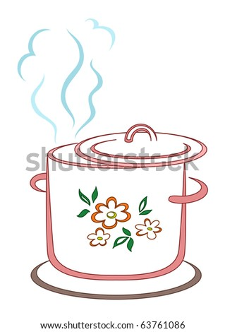 The kitchen pan with a pattern from flower and leaves, silhouette - stock vector