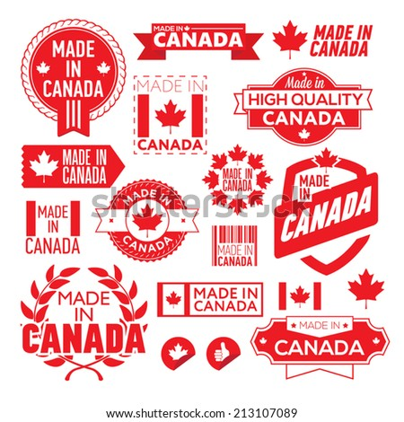The label made ??in Canada - stock vector
