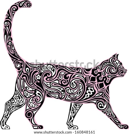 The laced cat - stock vector