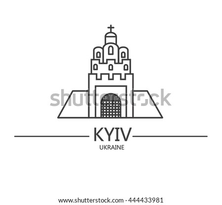 The landmarks of Kyiv - Golden Gate. Made in line style. The most popular tourist place in Kiev, Ukraine.