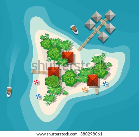 The landscape for recreation. Top view of the island paradise of rest View from helicopter seascapes. Paradise Island for vacation. Maritime hotel for rest. Travel & Leisure. Islands map with cities. - stock vector