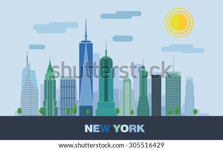 The landscape of skyscrapers in New York. Vector flat illustration. - stock vector