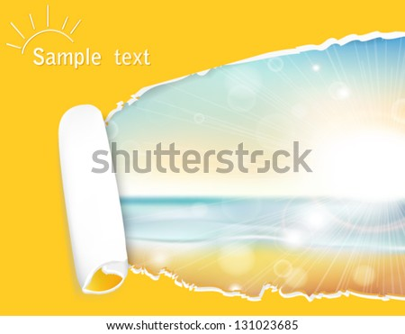 the landscape of the sunset on the background of the sea and beach in a stylish frame of yellow torn paper - stock vector
