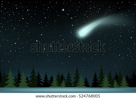 The large shining comet on stars background falling over the night wood