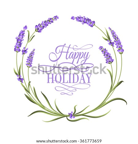 The lavender elegant frame with bouquet of flowers and text. Lavender blossom. marriage invitation. Label of soap package. Frame with lavender flowers. Vector illustration.