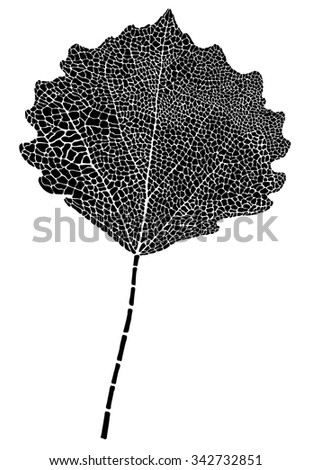The leaf of a poplar in the form of a tattoo or the mosaics - stock vector