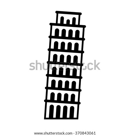 The Leaning Tower of Pisa in Italy line art icon for apps and websites - stock vector